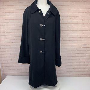 Micheal Kors Long Black Trench Coat Jacket M **